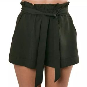 Pants - High waisted paper bag shorts with belt